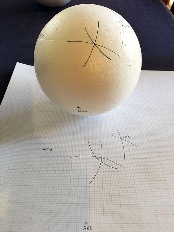 Honolulu's position on a sphere