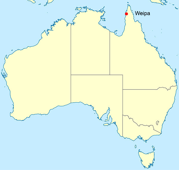 Site of Weipa in Australia