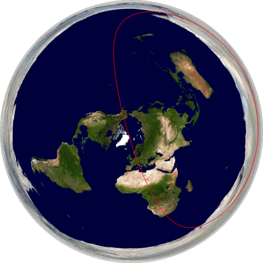 Great circle passing through Rome and McMurdo Station, Antarctica