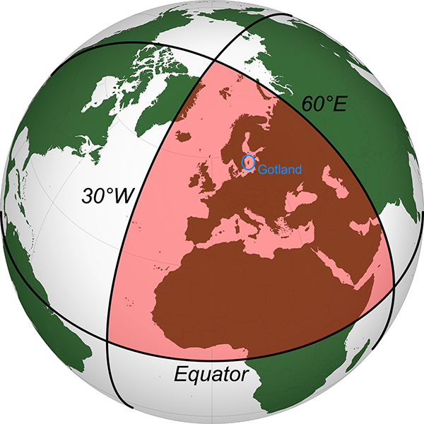 A large triangle on Earth