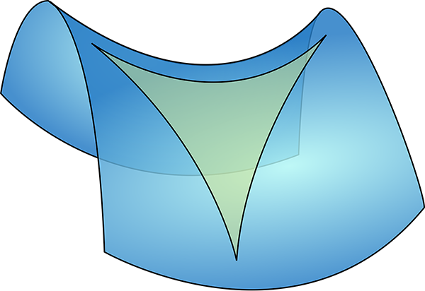 Saddle shaped surface with triangle