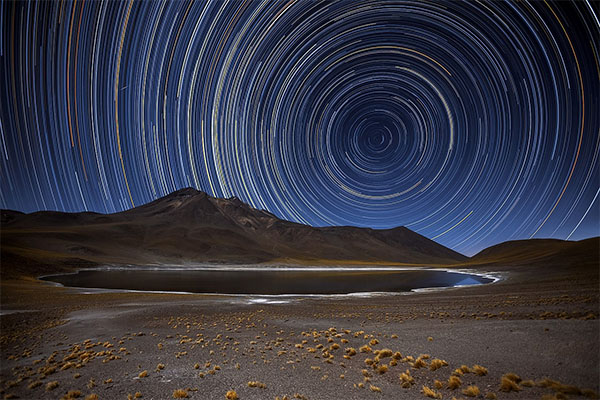Star trails in the southern hemisphere
