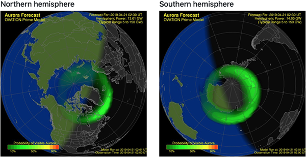 Northern and southern auroral ovals