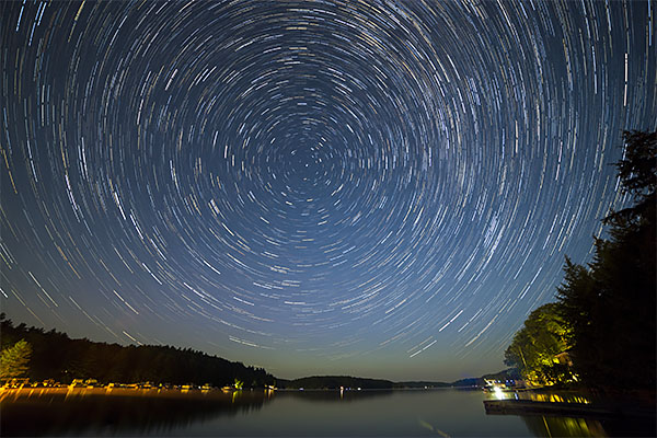 Star trails in the northern hemisphere