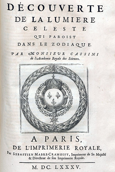 Title page of Cassini's discovery