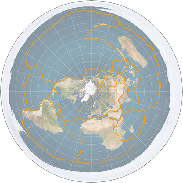Earth's tectonic plates on a flat Earth