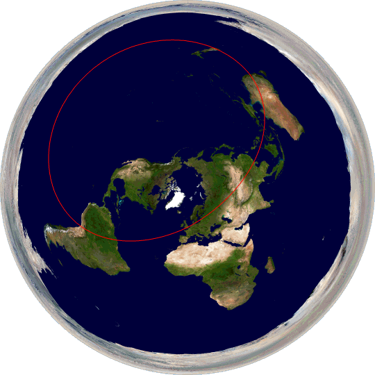 Great circle passing through London and Sydney