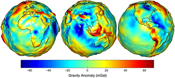 Earth Gravitational Model 2008 residuals