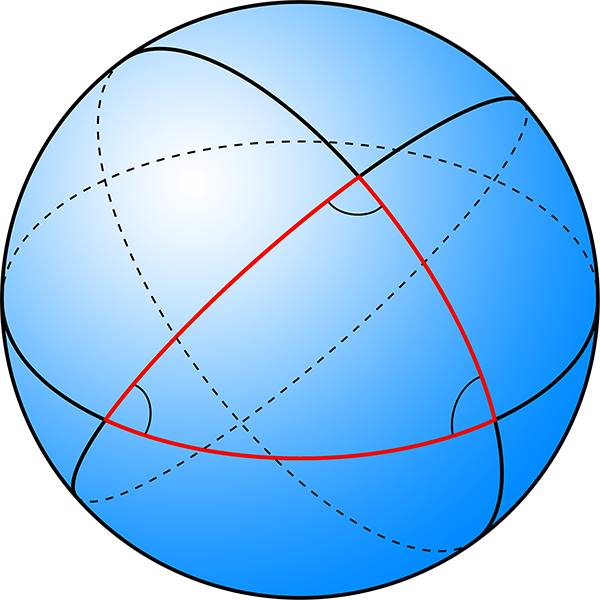 Spherical shaped surface with triangle