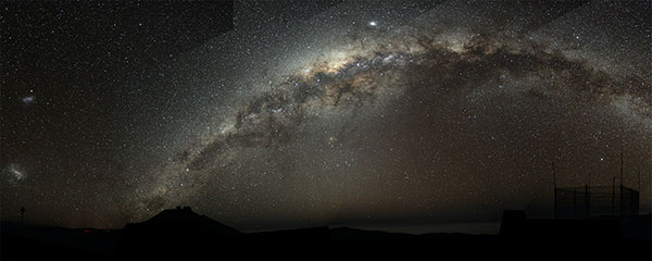 The night sky, showing the Milky Way
