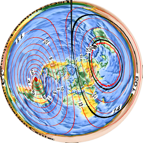 P wave propagation times from Ecuador, flat Earth