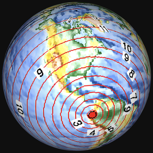 P wave propagation times from Ecuador, globe