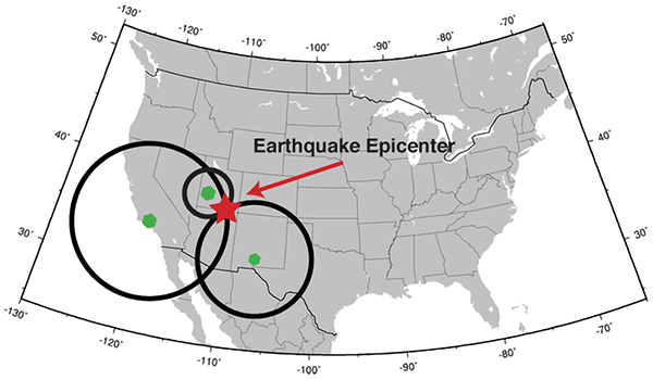 Triangulating the location of an earthquake