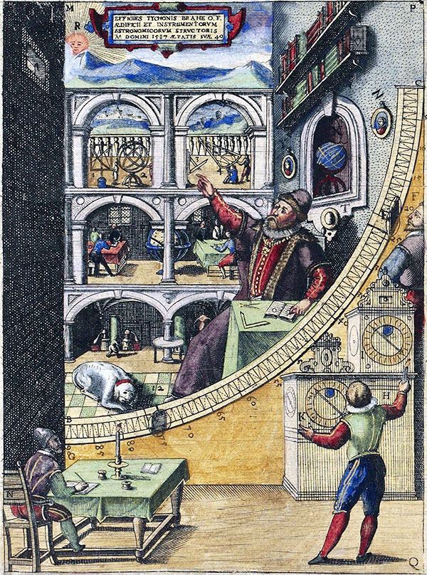 Tycho Brahe in his observatory at Uraniborg