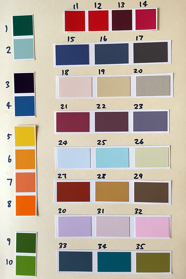 The 35 colour swatches