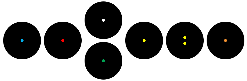 The coloured circles of row 3 rendered as small coloured dots in large black circles